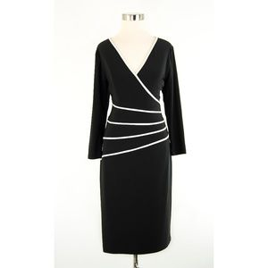 Lauren Ralph Lauren Black Dress w/White Piping 12